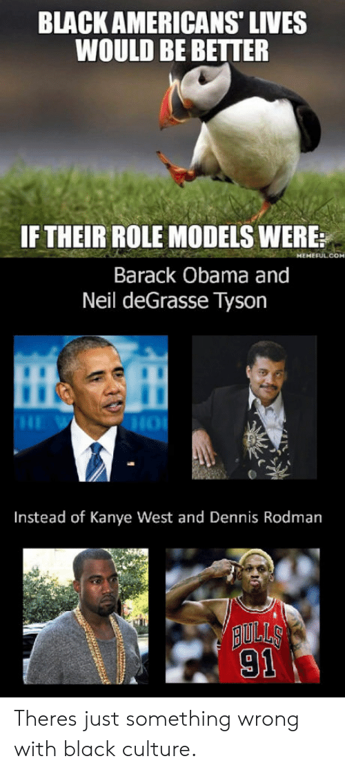 Dennis Rodman: BLACK AMERICANS' LIVES  WOULD BE BETTER  IF THEIR ROLE MODELS WERE:  Barack Obama and  Neil deGrasse Tyson  Instead of Kanye West and Dennis Rodman  AULLS  91 Theres just something wrong with black culture.