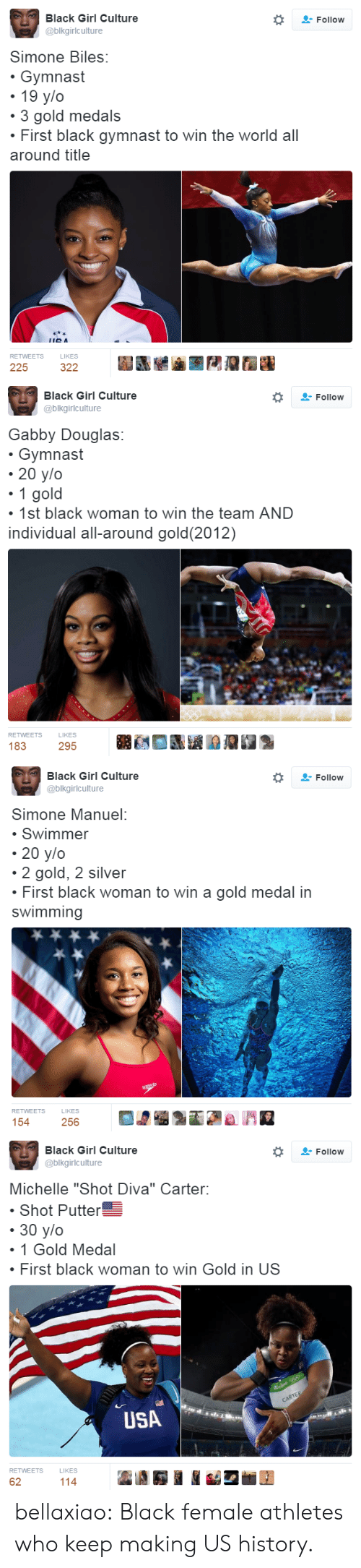 "female athletes: Black Girl Culture  Follow  @blkgirlculture  Simone Biles:  Gymnast  19 y/o  3 gold medals  First black gymnast to win the world all  around title  RETWEETS  LIKES  225  322   Black Girl Culture  @blkgirlculture  Follow  Gabby Douglas:  Gymnast  20 y/o  1 gold  1st black woman to win the team AND  individual all-around gold(2012)  RETWEETS  LIKES  183  295   Black Girl Culture  Follow  @blkgirlculture  Simone Manuel:  Swimmer  20 y/o  2 gold, 2 silver  First black woman to win a gold medal in  swimming  soeedo  RETWEETS  LIKES  154  256   Black Girl Culture  Follow  @blkgirlculture  Michelle ""Shot Diva"" Carter:  Shot Putter  30 y/o  1 Gold Medal  First black woman to win Gold in US  CARTER  USA  RETWEETS  LIKES  62  114 bellaxiao:  Black female athletes who keep making US history."