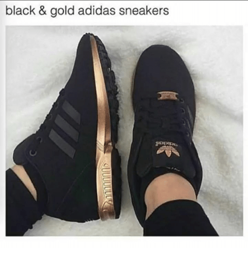 Adidas, Funny, and Sneakers: black & gold adidas sneakers