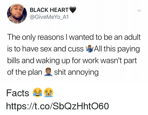 Paying Bills: BLACK HEART  @GiveMeYo_A1  The only reasons l wanted to be an adult  is to have sex and cuss All this paying  bills and waking up for work wasn't part  of the plan shit annoying Facts 😂😭 https://t.co/SbQzHhtO60