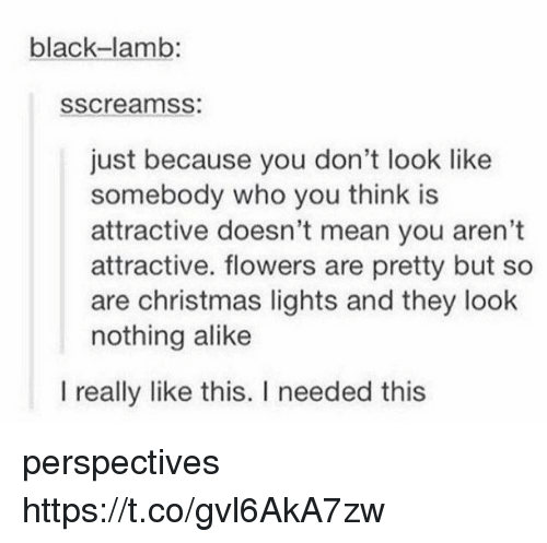 Christmas, Black, and Flowers: black-lamb:  sscreamss  just because you don't look like  somebody who you think is  attractive doesn't mean you aren't  attractive. flowers are pretty but so  are christmas lights and they look  nothing alike  I really like this. I needed this perspectives https://t.co/gvl6AkA7zw