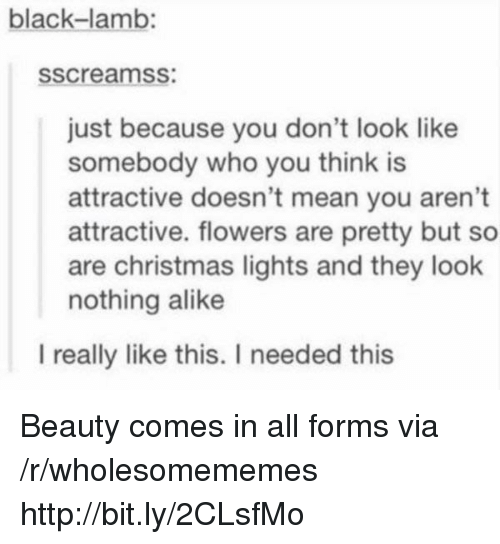 alike: black-lamb:  sscreamss:  just because you don't look like  somebody who you think is  attractive doesn't mean you aren't  attractive. flowers are pretty but so  are christmas lights and they look  nothing alike  l really like this. I needed this Beauty comes in all forms via /r/wholesomememes http://bit.ly/2CLsfMo