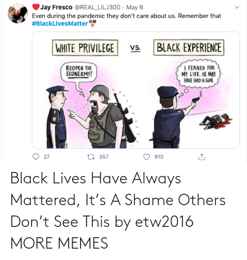mattered: Black Lives Have Always Mattered, It's A Shame Others Don't See This by etw2016 MORE MEMES