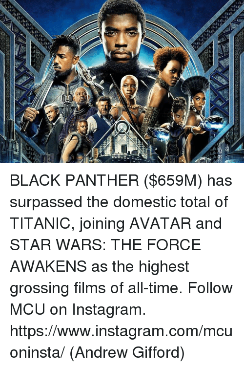 Star Wars: The Force Awakens: BLACK PANTHER ($659M) has surpassed the domestic total of TITANIC, joining AVATAR and STAR WARS: THE FORCE AWAKENS as the highest grossing films of all-time.  Follow MCU on Instagram. https://www.instagram.com/mcuoninsta/  (Andrew Gifford)