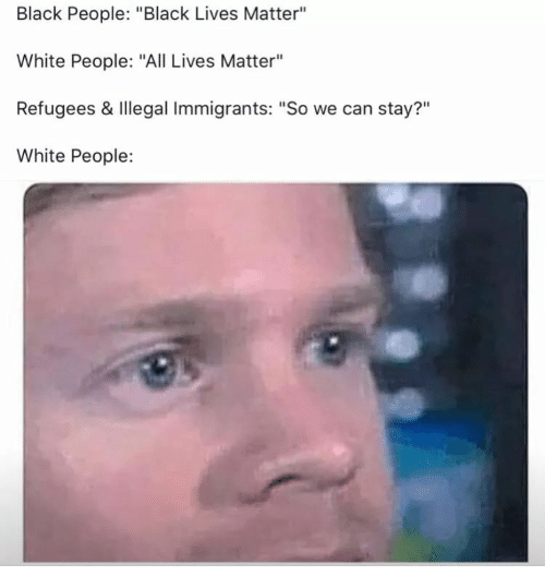 """All Lives Matter: Black People: """"Black Lives Matter""""  White People: """"All Lives Matter""""  Refugees & Illegal Immigrants: """"So we can stay?""""  White People:  ?11"""