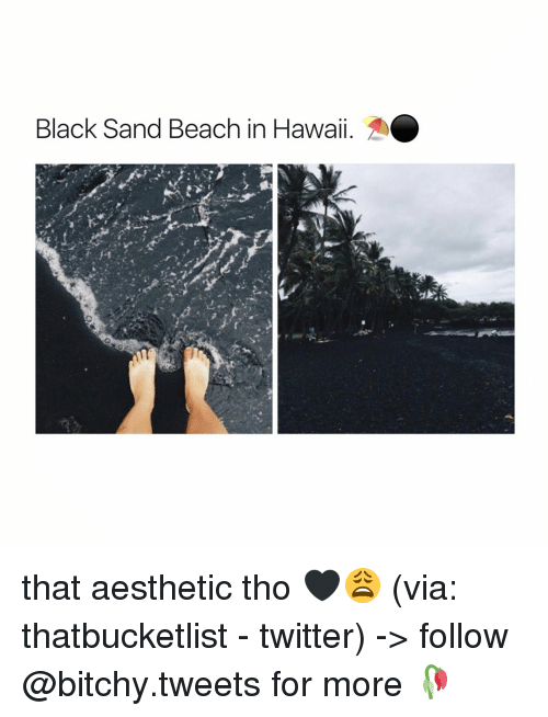 Aestheticly: Black Sand Beach in Hawaii. that aesthetic tho 🖤😩 (via: thatbucketlist - twitter) -> follow @bitchy.tweets for more 🥀