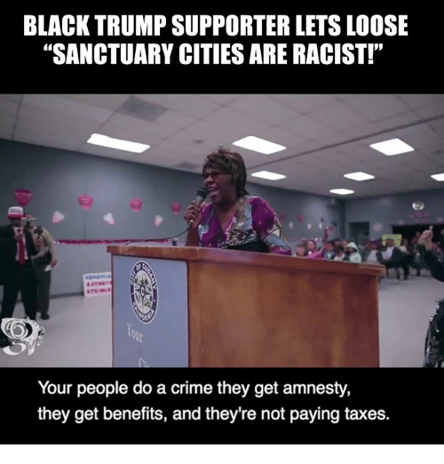 "Crime, Memes, and Taxes: BLACK TRUMP SUPPORTER LETS LOOSE  ""SANCTUARY CITIES ARE RACIST!""  Your people do a crime they get amnesty,  they get benefits, and they're not paying taxes."