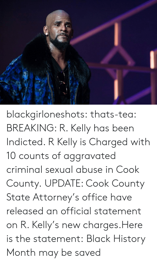 R. Kelly: blackgirloneshots:  thats-tea:   BREAKING: R. Kelly has been Indicted. R Kelly is Charged with 10 counts of aggravated criminal sexual abuse in Cook County. UPDATE: Cook County State Attorney's office have released an official statement on R. Kelly's new charges.Here is the statement:   Black History Month may be saved