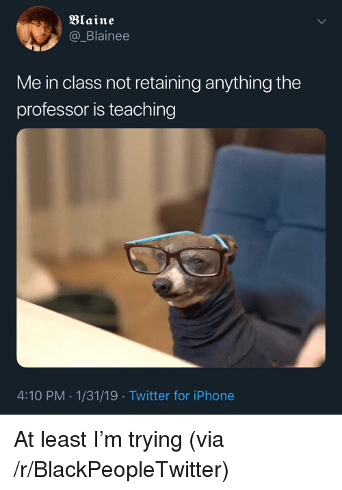 Blaine: Blaine  @_Blainee  Me in class not retaining anything the  professor is teaching  4:10 PM-1/31/19 Twitter for iPhone At least I'm trying (via /r/BlackPeopleTwitter)