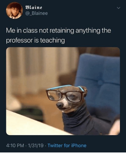 Blaine: Blaine  @_Blainee  Me in class not retaining anything the  professor is teaching  4:10 PM 1/31/19 Twitter for iPhone