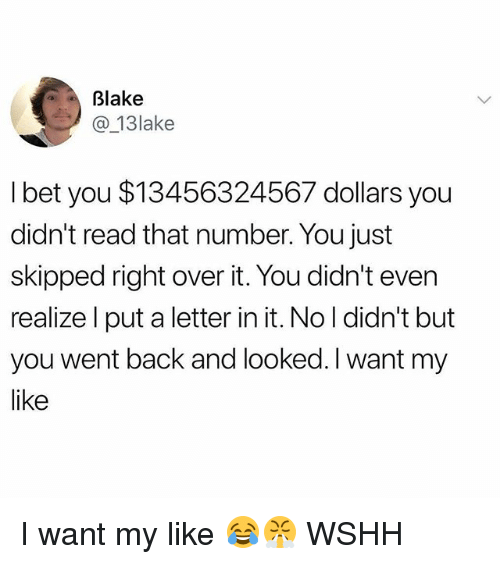 Memes, Wshh, and Back: Blake  @_13lake  l bet you $13456324567 dollars you  didn't read that number. You just  skipped right over it. You didn't even  realize l put a letter in it. No I didn't but  you went back and looked. I want my  like I want my like 😂😤 WSHH
