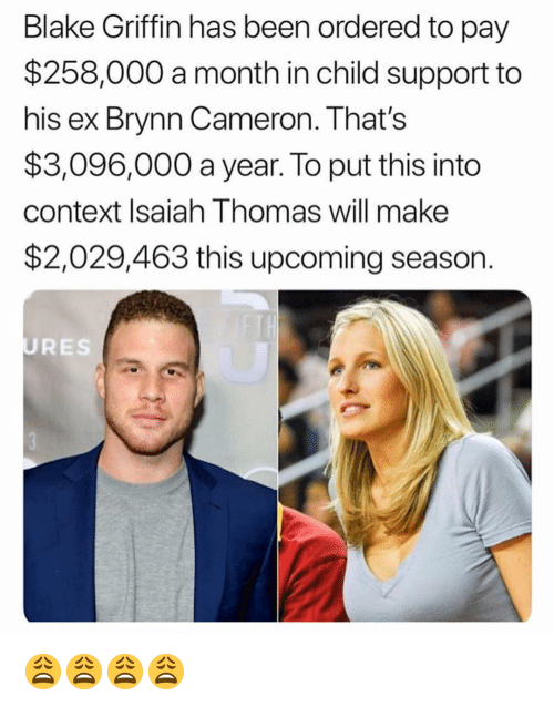 Blake Griffin: Blake Griffin has been ordered to pay  $258,000 a month in child support to  his ex Brynn Cameron. That's  $3,096,000 a year. To put this into  context Isaiah Thomas will make  $2,029,463 this upcoming season.  URES 😩😩😩😩
