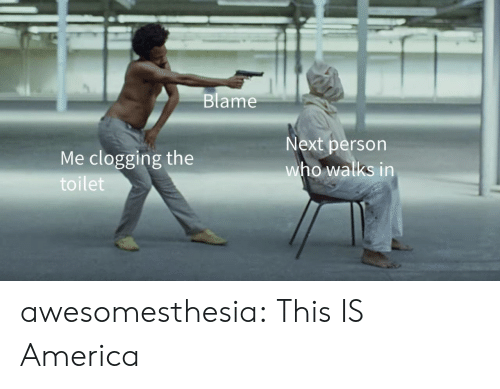 Blame Me: Blame  Me clogging the  toilet  Next person  who walks in awesomesthesia:  This IS America
