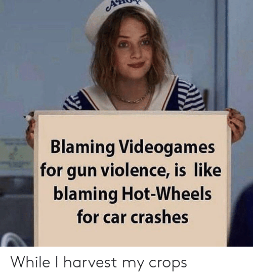 Crashes: Blaming Videogames  for gun violence, is like  blaming Hot-Wheels  for car crashes While I harvest my crops