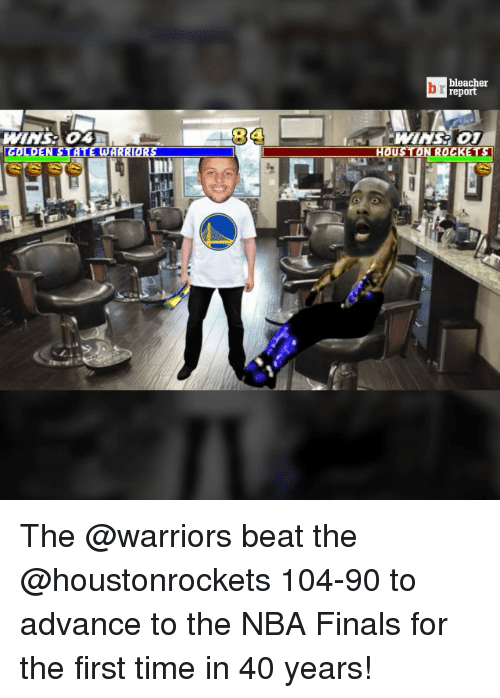 houston rocket: bleacher  report  COLOEN STATE WARRIORS HOUSTON ROCKETS The @warriors beat the @houstonrockets 104-90 to advance to the NBA Finals for the first time in 40 years!
