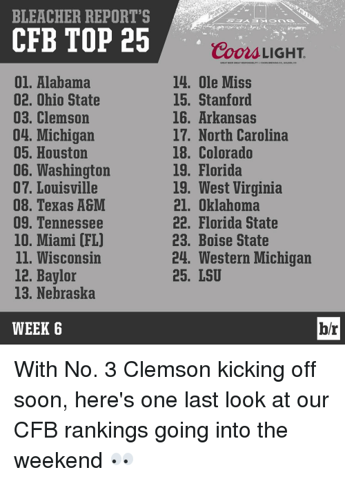Deer, Soon..., and Sports: BLEACHER REPORT'S  CFB TOP 25  01. Alabama  02. Ohio State  03. Clemson  04. Michigan  05. Houston  06. Washington  07. Louisville  08. Texas A&M  09. Tennessee  10. Miami (FL)  ll. Wisconsin  12. Baylor  13. Nebraska  WEEK 6  Coors LIGHT.  GREAT DEER GREAT RtspONsaDILITY e cooRS BRtwiNG co..GOLDEN, co  14. Ole Miss  15. Stanford  16. Arkansas  17. North Carolina  18. Colorado  19. Florida  19, West Virginia  21. Oklahoma  22. Florida State  23. Boise State  24. Western Michigan  25. LSU  br With No. 3 Clemson kicking off soon, here's one last look at our CFB rankings going into the weekend 👀