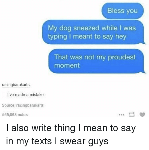 Mean, Bad Fake Texts, and Texts: Bless you  My dog sneezed while I was  typing I meant to say hey  That was not my proudest  moment  racingbarakarts:  l've made a mistake  Source: racingbarakarts  555,868 notes