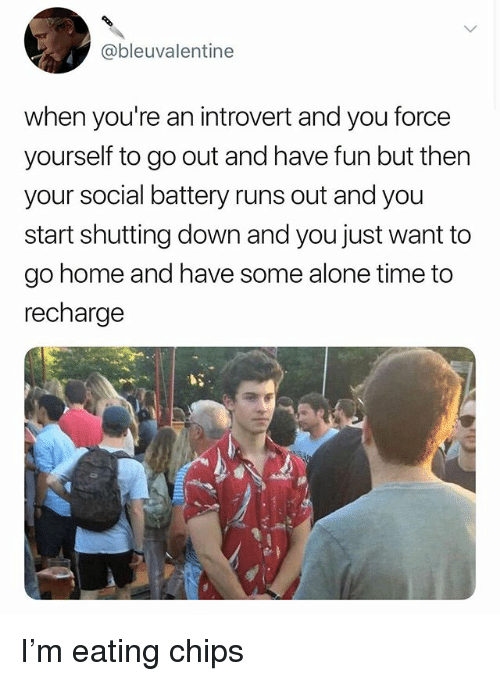 Being Alone, Introvert, and Memes: @bleuvalentine  when you're an introvert and you force  yourself to go out and have fun but thern  your social battery runs out and you  start shutting down and you just want to  go home and have some alone time to  recharge I'm eating chips