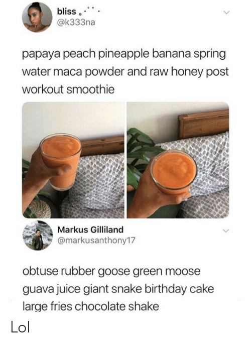 moose: bliss  @k333na  papaya peach pineapple banana spring  water maca powder and raw honey post  workout smoothie  Markus Gilliland  @markusanthony17  obtuse rubber goose green moose  guava juice giant snake birthday cake  large fries chocolate shake Lol