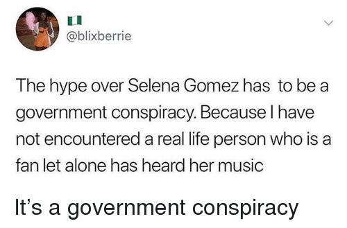 Selena Gomez: @blixberrie  The hype over Selena Gomez has to be a  government conspiracy. Because I have  not encountered a real life person who is a  fan let alone has heard her music It's a government conspiracy