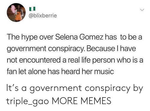 Selena Gomez: @blixberrie  The hype over Selena Gomez has to be a  government conspiracy. Because I have  not encountered a real life person who is a  fan let alone has heard her music It's a government conspiracy by triple_gao MORE MEMES