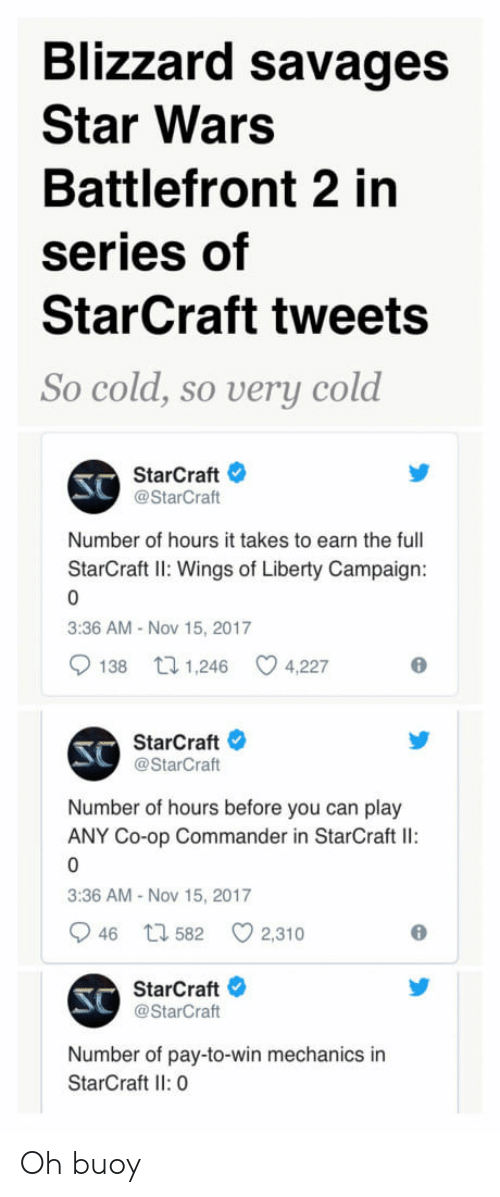 battlefront 2: Blizzard savages  Star Wars  Battlefront 2 in  series of  StarCraft tweets  So cold, so uerบุ cold  StarCraft  @StarCraft  Number of hours it takes to earn the full  StarCra: Wings of Liberty Campaign:  3:36 AM Nov 15, 2017  138 t 1,246 C 4,227  SC  StarCraft  @StarCraft  Number of hours before you can play  ANY Co-op Commander in StarCraft Il:  3:36 AM- Nov 15, 2017  946 h 582  2,310  SC  StarCraft  @StarCraft  Number of pay-to-win mechanics in  StarCraft Il: 0 Oh buoy