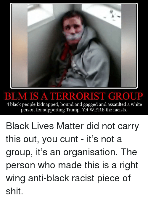 Black Lives Matter, Black, and Cunt: BLM IS A TERRORIST GROUP  4 black people kidnapped, bound and gagged and assaulted a white  ting Trump. Yet WE'RE the rac