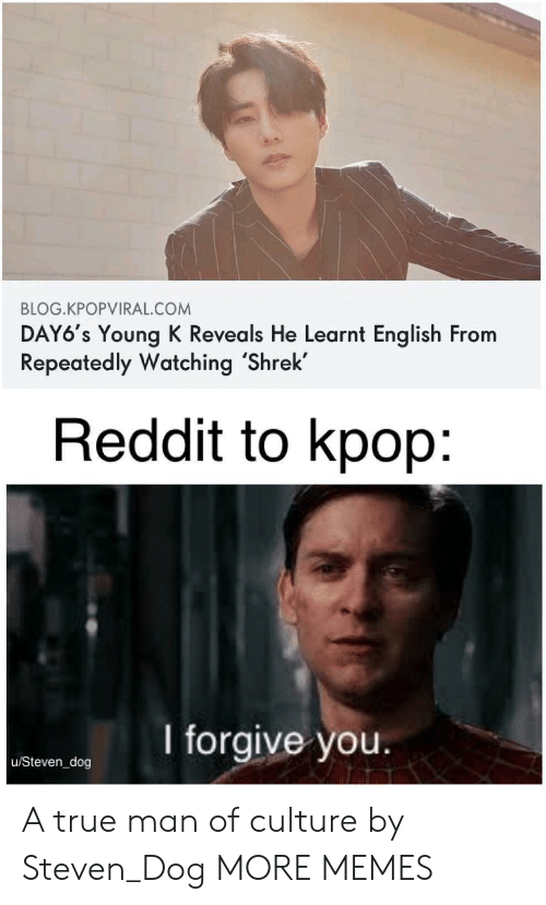 kpop: BLOG.KPOPVIRAL.COM  DAY6's Young K Reveals He Learnt English From  Repeatedly Watching 'Shrek  Reddit to kpop:  I forgive you.  u/Steven_dog A true man of culture by Steven_Dog MORE MEMES