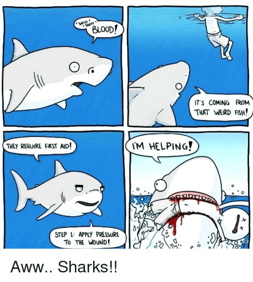 weird fish: BLOOD!  T'S COMING FROM  THAT WEIRD FISH!  THEY REQUIRE FIRST AID!  M HELPING?  0  STEP 1: APPLY PRESSURE  To THE WOUND! Aww.. Sharks!!