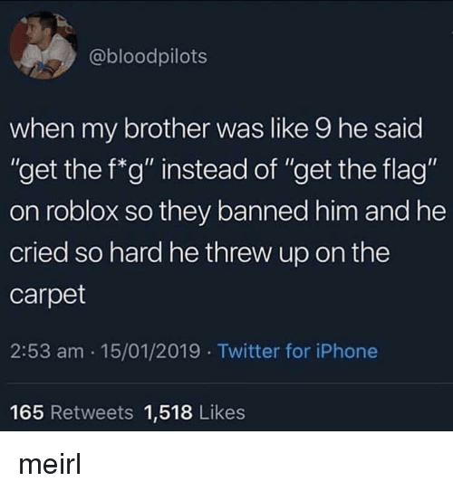 "roblox: @bloodpilots  when my brother was like 9 he said  ""get the f*g"" instead of ""get the flag""  on roblox so they banned him and he  cried so hard he threw up on the  carpet  2:53 am 15/01/2019 Twitter for iPhone  Ou  165 Retweets 1,518 Likes meirl"