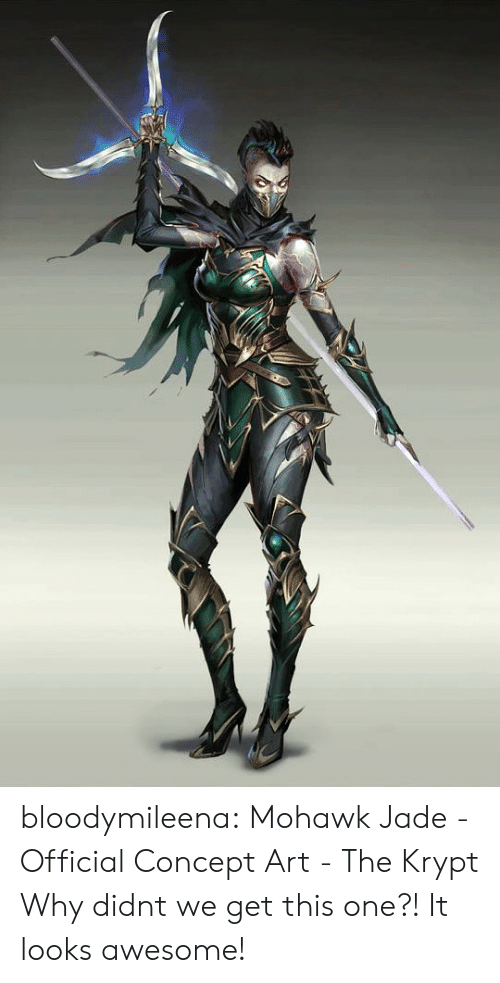 jade: bloodymileena:  Mohawk Jade - Official Concept Art - The Krypt  Why didnt we get this one?! It looks awesome!