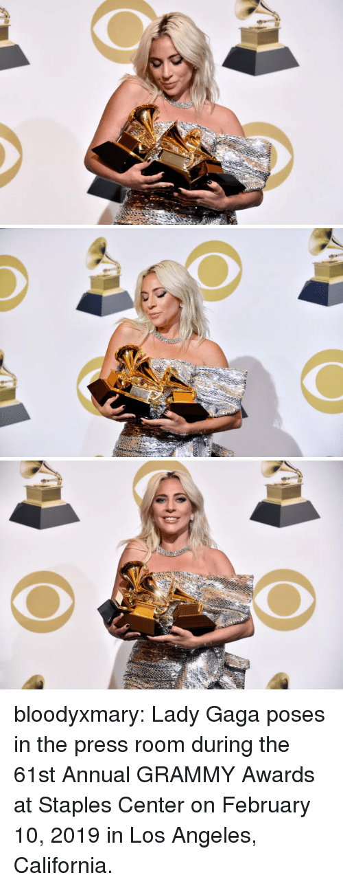 Grammy Awards: bloodyxmary:  Lady Gaga poses in the press room during the 61st Annual GRAMMY Awards at Staples Center on February 10, 2019 in Los Angeles, California.