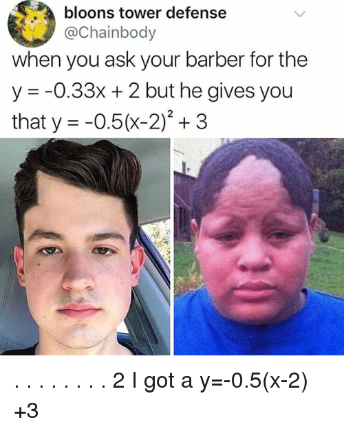 Barber, Memes, and 🤖: bloons tower defense  aChainbody  when you ask your barber for the  y -0.33x + 2 but he gives you  that y =-0.5(x-2)2 + 3 . . . . . . . . 2 I got a y=-0.5(x-2) +3