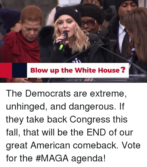Fall, White House, and American: Blow up the White House? The Democrats are extreme, unhinged, and dangerous. If they take back Congress this fall, that will be the END of our great American comeback. Vote for the #MAGA agenda!