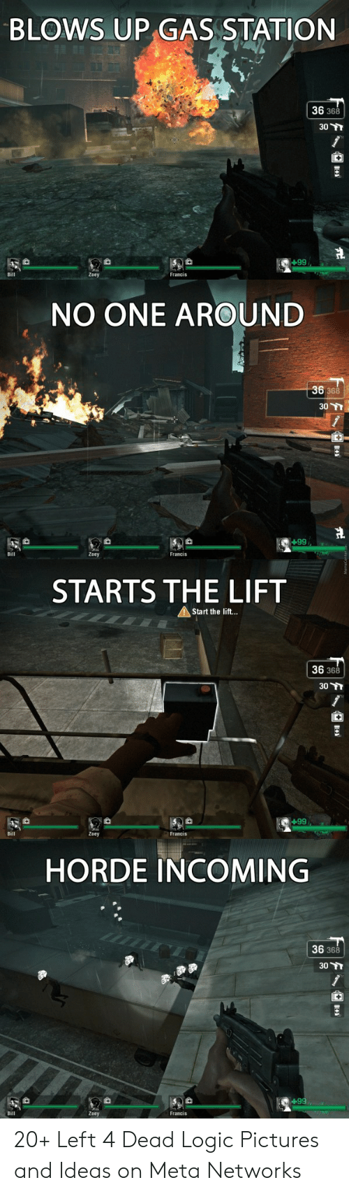 Dead Logic: BLOWS UP GAS STATION  36 368  30  66+  Zoey  NO ONE AROUND  36  368  30  +99  Zoey  STARTS THE LIFT  AStart the lif...  36 368  30 TT  +99  HORDE INCOMING  36 368  30 Y  66+i  Francis 20+ Left 4 Dead Logic Pictures and Ideas on Meta Networks