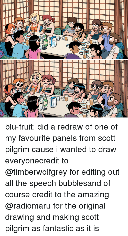 pilgrim: blu-fruit:  did a redraw of one of my favourite panels from scott pilgrim cause i wanted to draw everyonecredit to @timberwolfgrey for editing out all the speech bubblesand of course credit to the amazing @radiomaru for the original drawing and making scott pilgrim as fantastic as it is