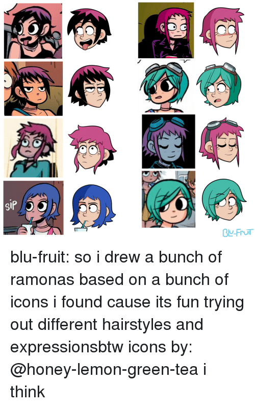 Hairstyles: blu-fruit:  so i drew a bunch of ramonas based on a bunch of icons i found cause its fun trying out different hairstyles and expressionsbtw icons by: @honey-lemon-green-tea i think