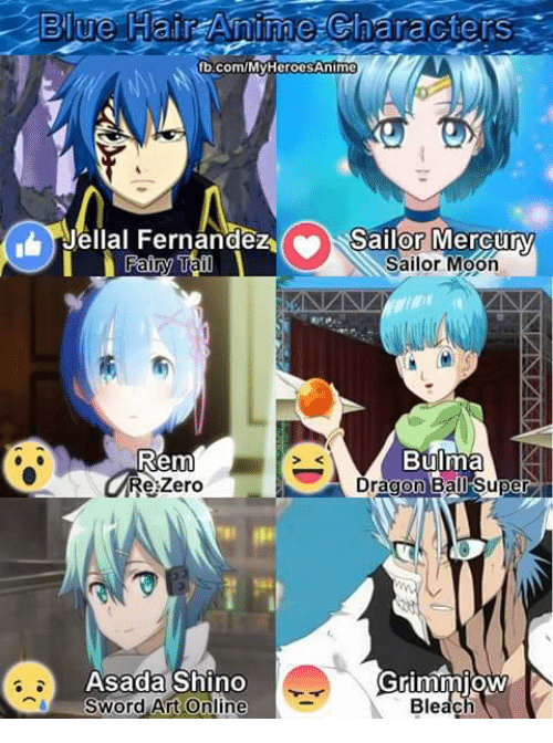 Bulma, Memes, and Zero: Blue Hair Anime charactersa  ub-com/My HeroesAnime  Jellal Fernandez (.a Sailor Mercury  Sailor Fairy Ta  Moon  Rem  Bulma  Zero  Re Dragon Ball Super  Asada Shino  Grimmjow  Bleach  Sword Art Online