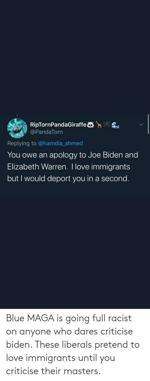 biden: Blue MAGA is going full racist on anyone who dares criticise biden. These liberals pretend to love immigrants until you criticise their masters.