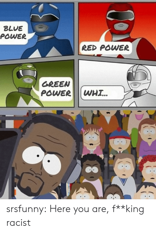fking: BLUE  POWER  RED POWER  GREEN  POWER  WHI.. srsfunny:  Here you are, f**king racist