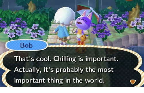 Cool, World, and Bob: Bob  That's cool. Chilling is important.  Actually, it's probably the most  important thing in the world.
