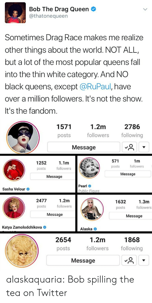 RuPaul: Bob The Drag Queen  @thatonequeen  Sometimes Drag Race makes me realize  other things about the world. NOT ALL,  but a lot of the most popular queens fall  into the thin white category. And NO  black queens, except @RuPaul, have  over a million followers. It's not the show.  It's the fandom   1.2m  followers following  1571  2786  posts  Message  571  posts  1m  followers  1252  念  1.1m  followers  posts  Message  Message  Pearl  Public Figure  Sasha Velour  2477  posts  1.2m  followers  1632  posts  1.3m  followers  Message  Message  Katya Zamolodchikova  Alaska <  1.2m  followers following  1868  2654  posts  Message alaskaquaria: Bob spilling the tea on Twitter