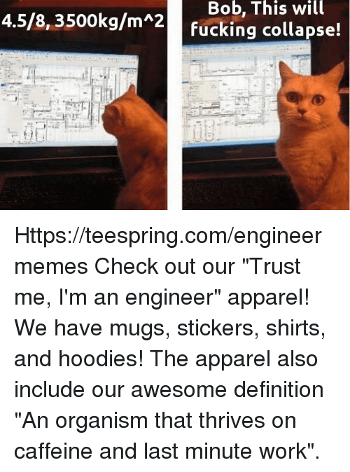 """Im An Engineer: Bob, This will  4.5/8, 3500kg/m 2  fucking collapse! Https://teespring.com/engineermemes  Check out our """"Trust me, I'm an engineer"""" apparel! We have mugs, stickers, shirts, and hoodies! The apparel also include our awesome definition """"An organism that thrives on caffeine and last minute work""""."""