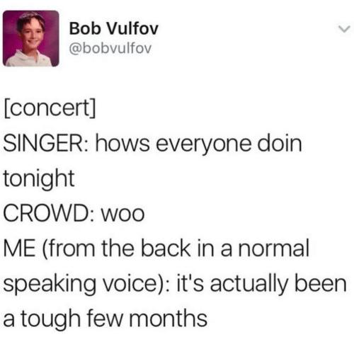 singer: Bob Vulfov  @bobvulfov  [concert]  SINGER: hows everyone doin  tonight  CROWD: woo  ME (from the back in a normal  speaking voice): it's actually been  a tough few months