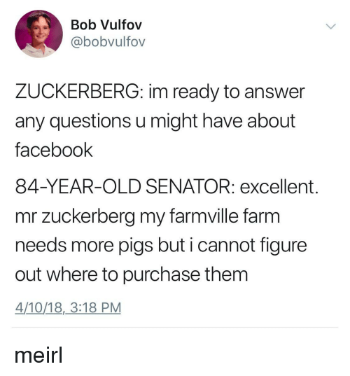 FarmVille: Bob Vulfov  @bobvulfov  ZUCKERBERG: im ready to answer  any questions u might have about  facebook  84-YEAR-OLD SENATOR: excellent.  mr zuckerberg my farmville farm  needs more pigs but i cannot figure  out where to purchase them  4/10/18,3:18 PM meirl
