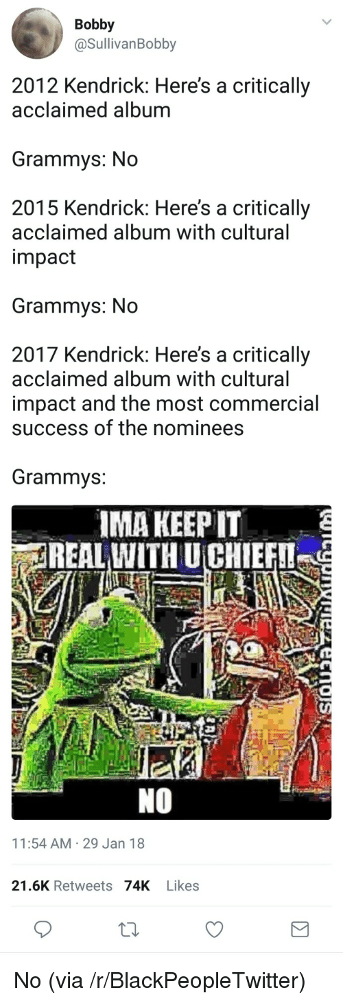 Blackpeopletwitter, Grammys, and Kendrick: Bobby  @SullivanBobby  2012 Kendrick: Here's a critically  acclaimed album  Grammys: No  2015 Kendrick: Here's a critically  acclaimed album with cultural  impact  Grammys: No  2017 Kendrick: Here's a critically  acclaimed album with cultural  impact and the most commercial  success of the nominees  Grammvs:  IMA KEEP IT  REAL WITH UCHIEF  NO  11:54 AM 29 Jan 18  21.6K Retweets 74K Likes <p>No (via /r/BlackPeopleTwitter)</p>