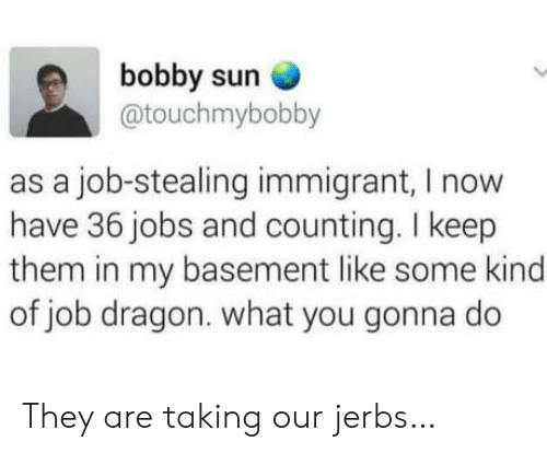counting: bobby sun  @touchmybobby  as a job-stealing immigrant, I now  have 36 jobs and counting. I keep  them in my basement like some kind  of job dragon. what you gonna do They are taking our jerbs…