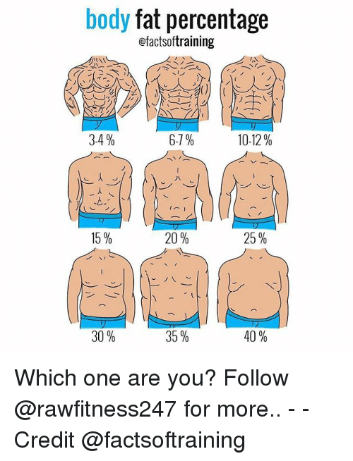 Memes, Fat, and 🤖: body fat percentage  ofactsoftraining  6-7%  3-4  10-12  20%  15%  25%  35  30%  40% Which one are you? Follow @rawfitness247 for more.. - - Credit @factsoftraining