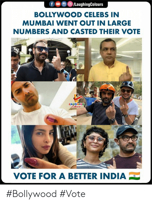 Casted: BOLLYWOOD CELEBS IN  MUMBAI WENT OUT IN LARGE  NUMBERS AND CASTED THEIR VOTE  LAUGHING  VOTE FOR A BETTER INDIA #Bollywood #Vote