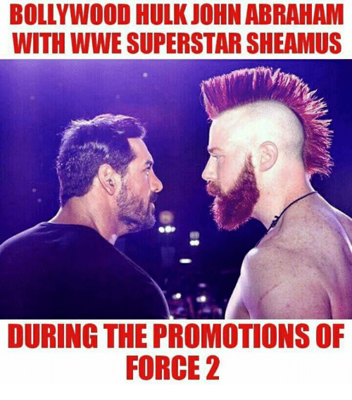sheamus: BOLLYWOOD HULK JOHN ABRAHAM  WITH WWE SUPERSTAR SHEAMUS  DURING THE PROMOTIONS OF  FORCE 2